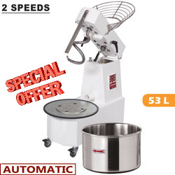 SPIRAL MIXER 53 L, TILTING HEAD, REMOVABLE BOWL, 2 SPEEDS, - AUTOMATIC, DIGITAL     DH53AL/T2V-OCC