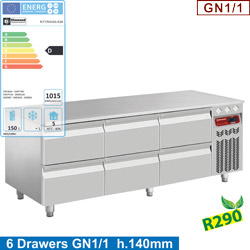 REFRIGERATED BASE  6x1/2 DRAWERS GN1/1- h 100 mm    N77/R316G-R26