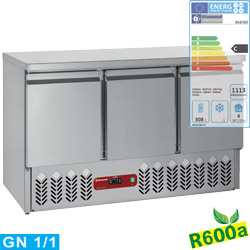 REFRIGERATED COUNTER, 3 DOORS GN 1/1, 380 L  SA3/R6