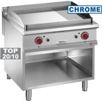 FRY TOP 2/3 SMOOTH & 1/3 GROOVED, CHROMIUM-PLATED, OPEN CUPBOARD   G9/PMCA8